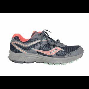 Saucing Cohesion II Grey Pink Running Sneakers 9